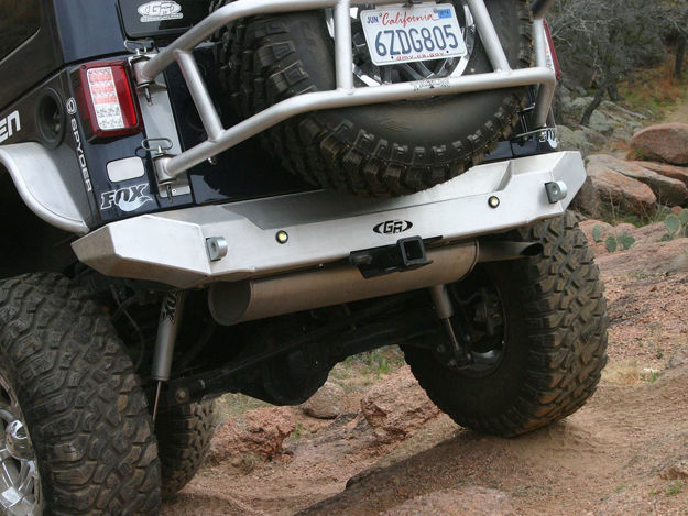 Picture of Jeep Bumper w/Tow Points Rear 07-Pres Wrangler JK, JKU Aluminum Bare GenRight